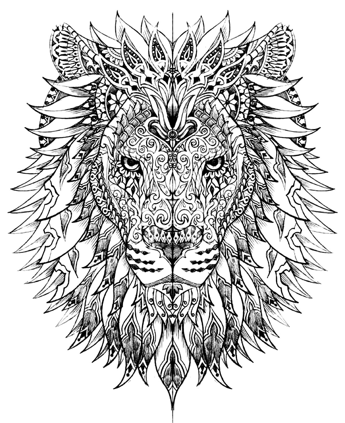 Lion Head Coloring Page : coloring, Animals, Coloring, Pages, Mandalas, Anti-stress
