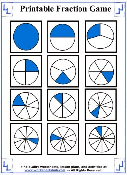 Fraction Games  Printable Memory Game Pieces