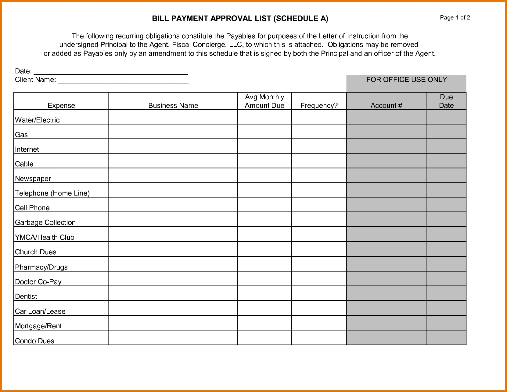 Bill Payment Schedule Template And 100 Printable Monthly