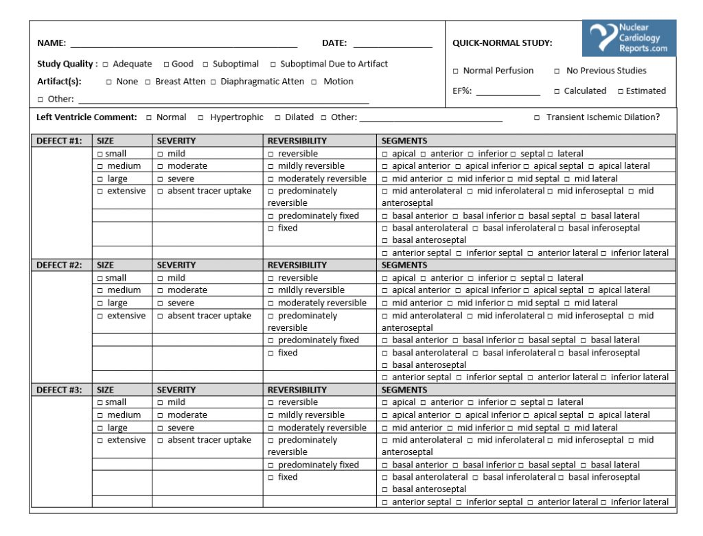 Printable Stress Test Worksheets Amp Nuclear Cardiology
