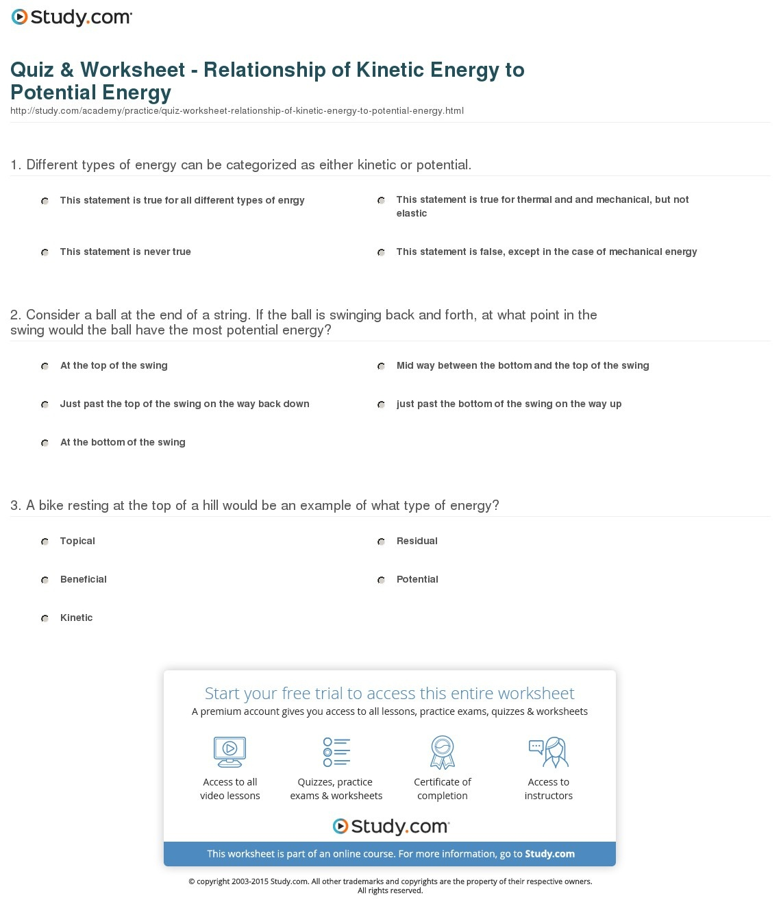 Free Printable Worksheets On Potential And Kinetic Energy