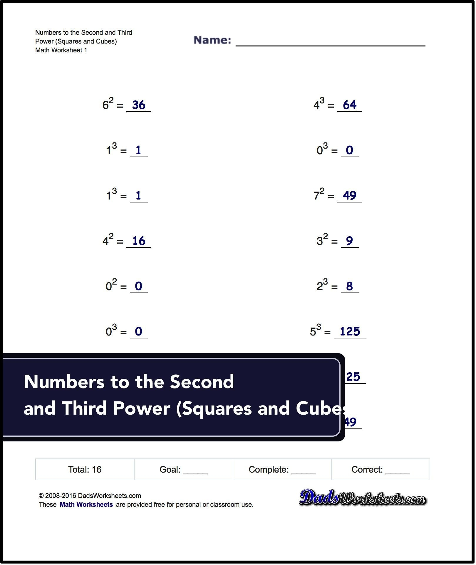 Exponents Worksheets For Numbers To The Second And Third