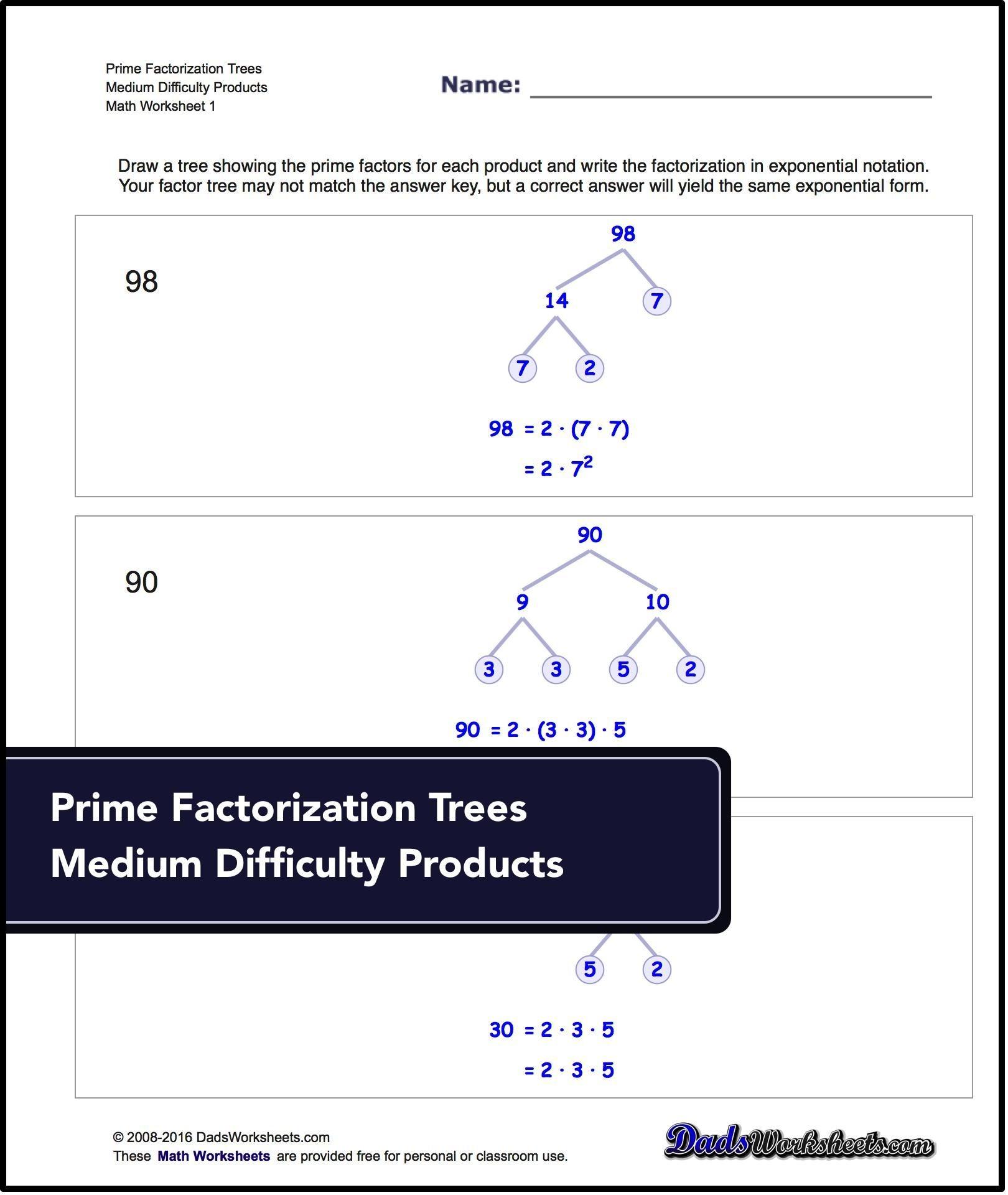 Factorization Gcd Lcm Prime Factorization These
