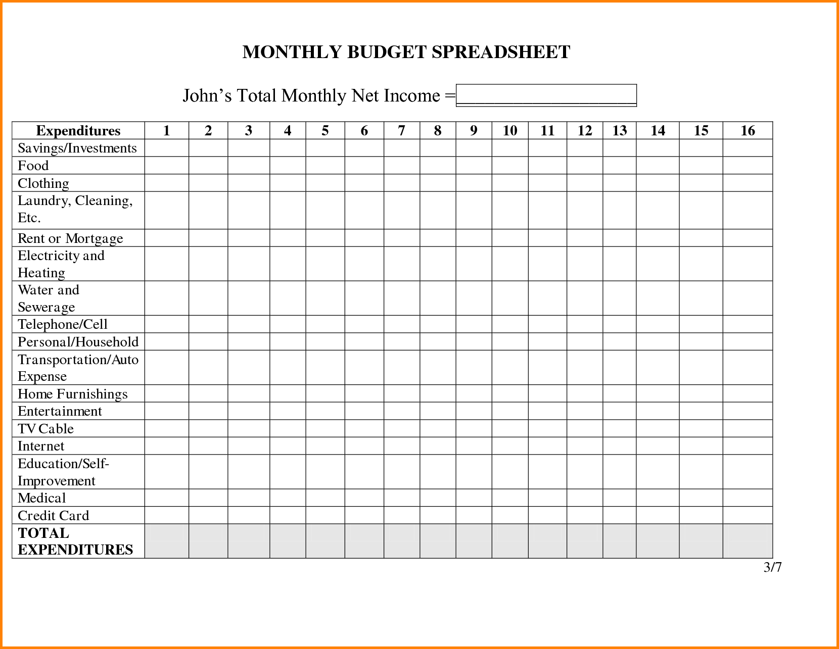 Free Printable Monthly Household Budget Sheet
