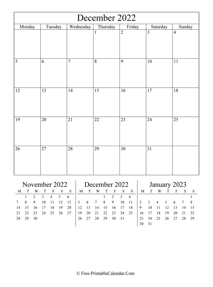 2022 Calendar December (Portrait Layout)