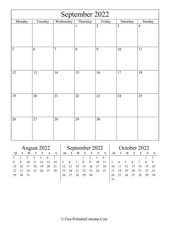 2022 Calendar September (Portrait Layout)