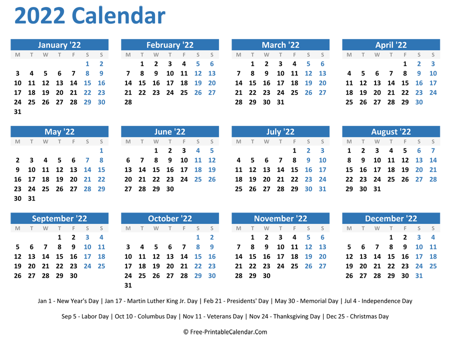 2022 Yearly Calendar with Holidays (Horizontal Layout)