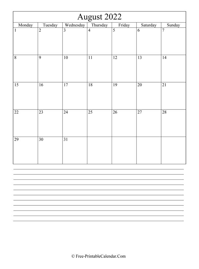 August 2022 Editable Calendar with Notes
