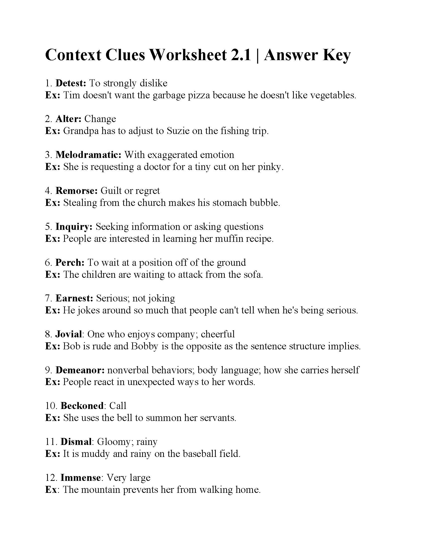 hight resolution of Context Clues English Worksheet   Printable Worksheets and Activities for  Teachers