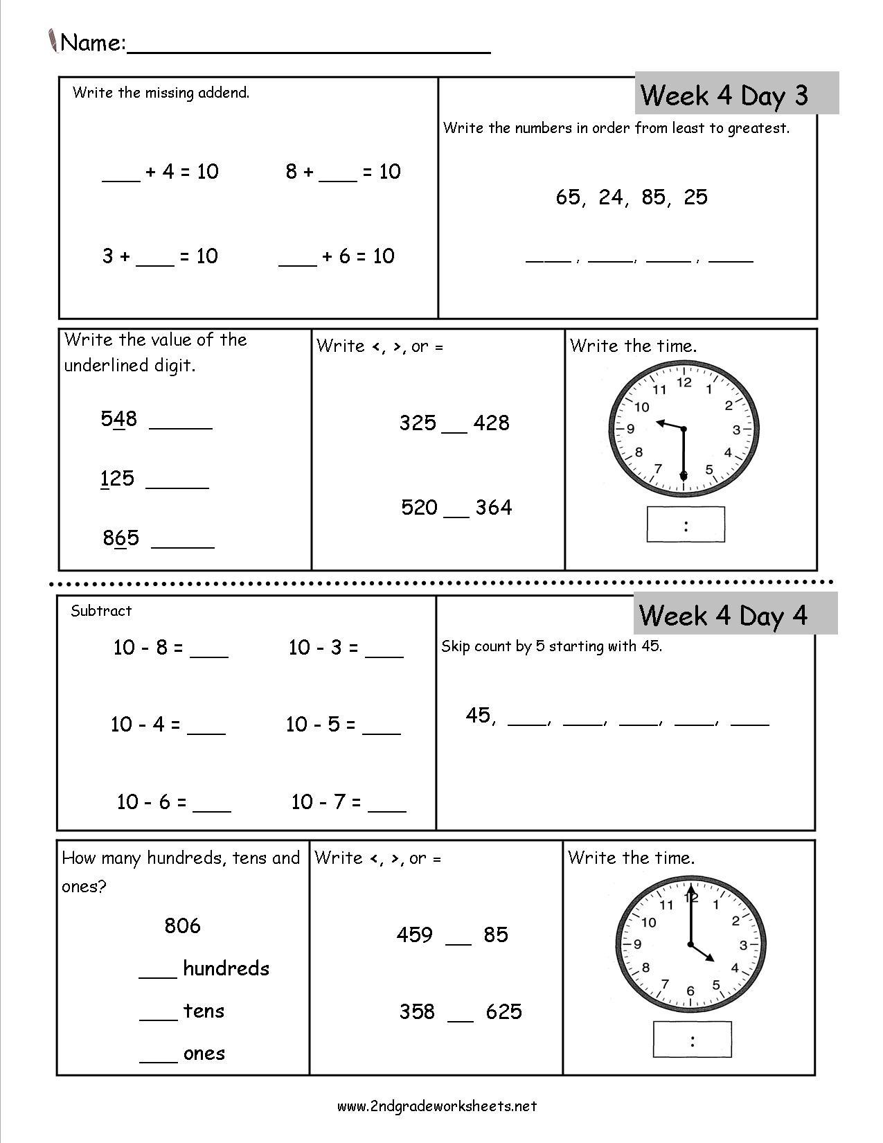 Free 2nd Grade Daily Math Worksheets