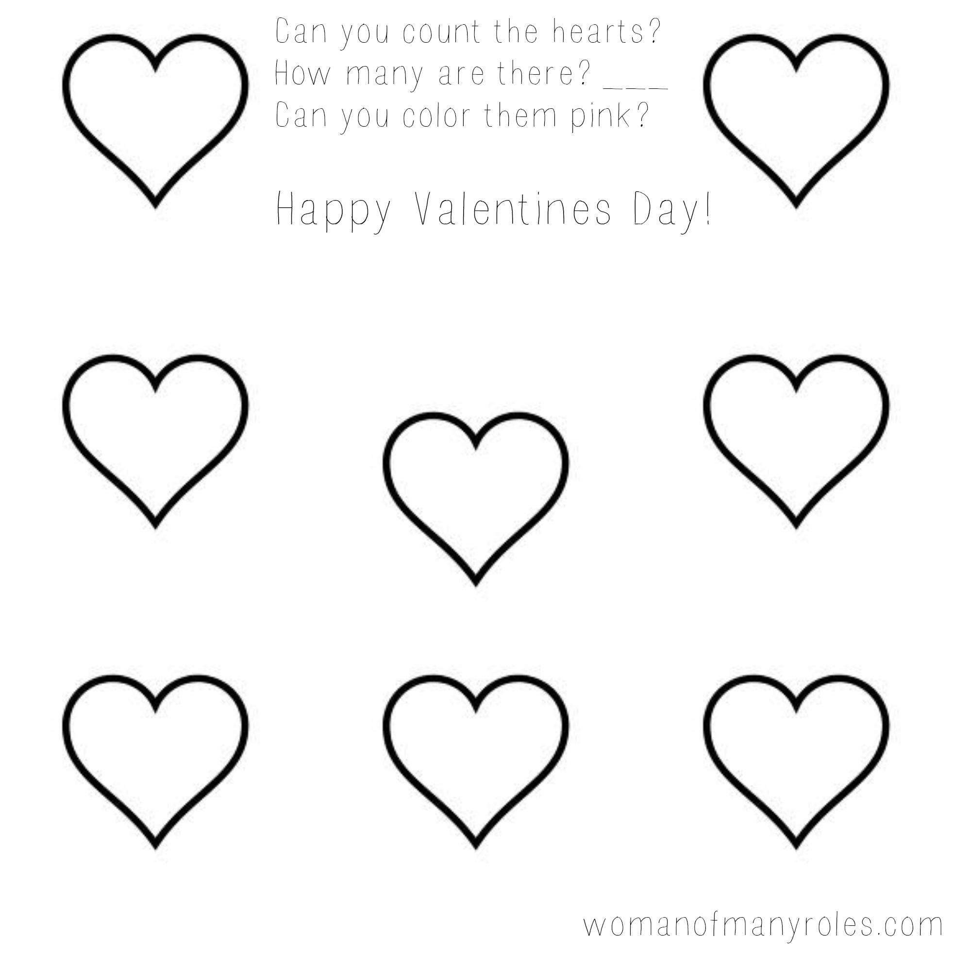 Heart Counting Printable Preschool Worksheet Woman Of