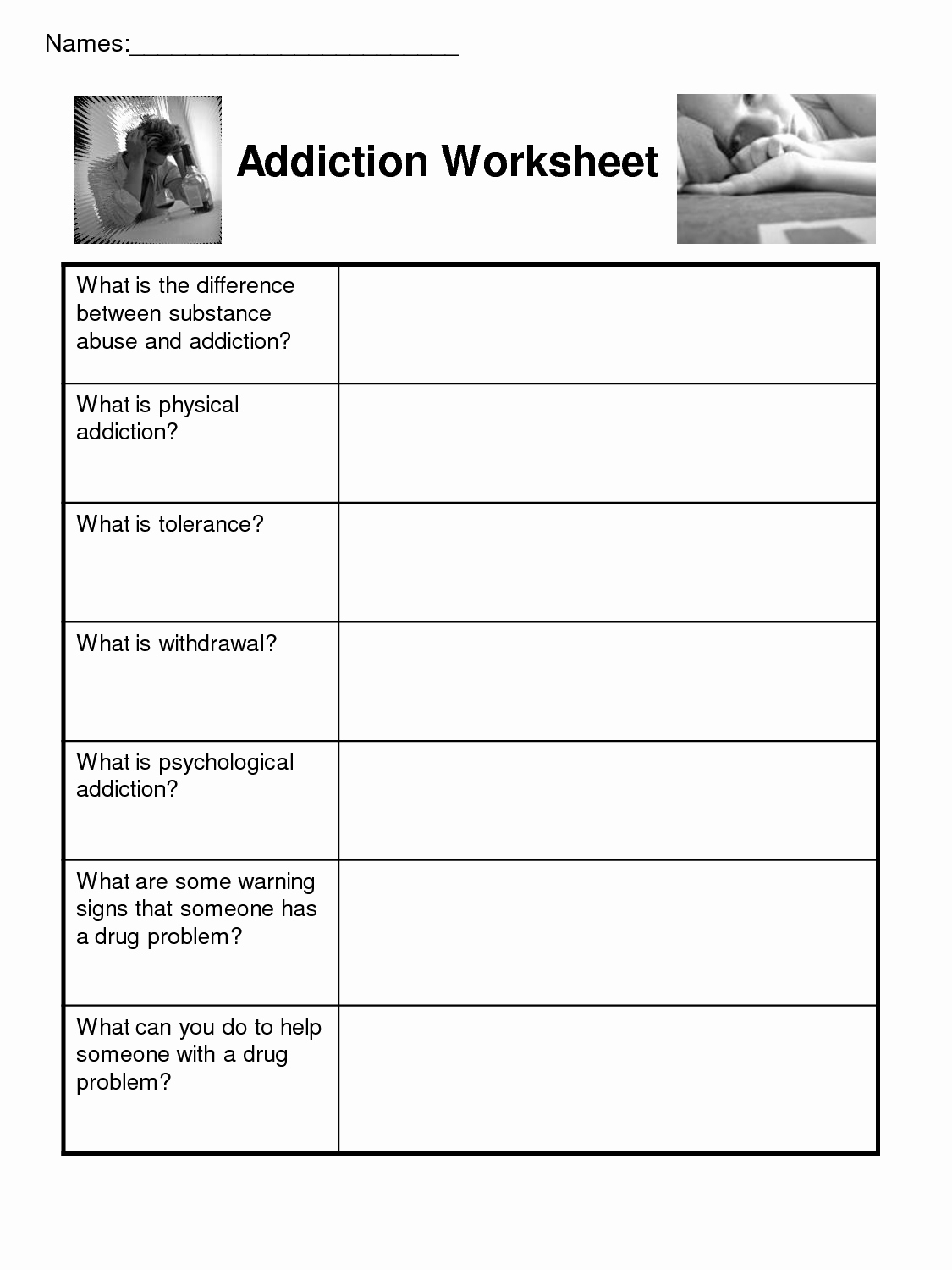 20 Group Therapy Worksheets For Substance Abuse