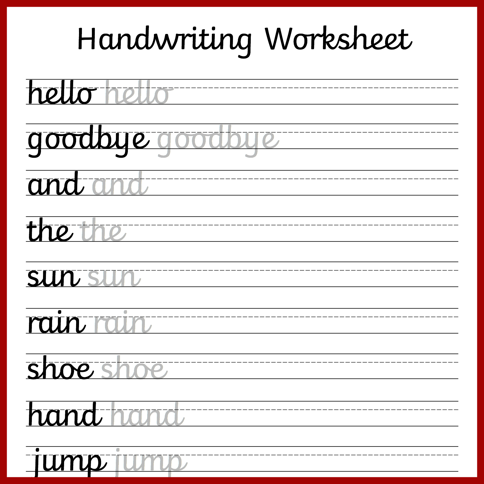 Cursive Letters Writing Worksheet Printable