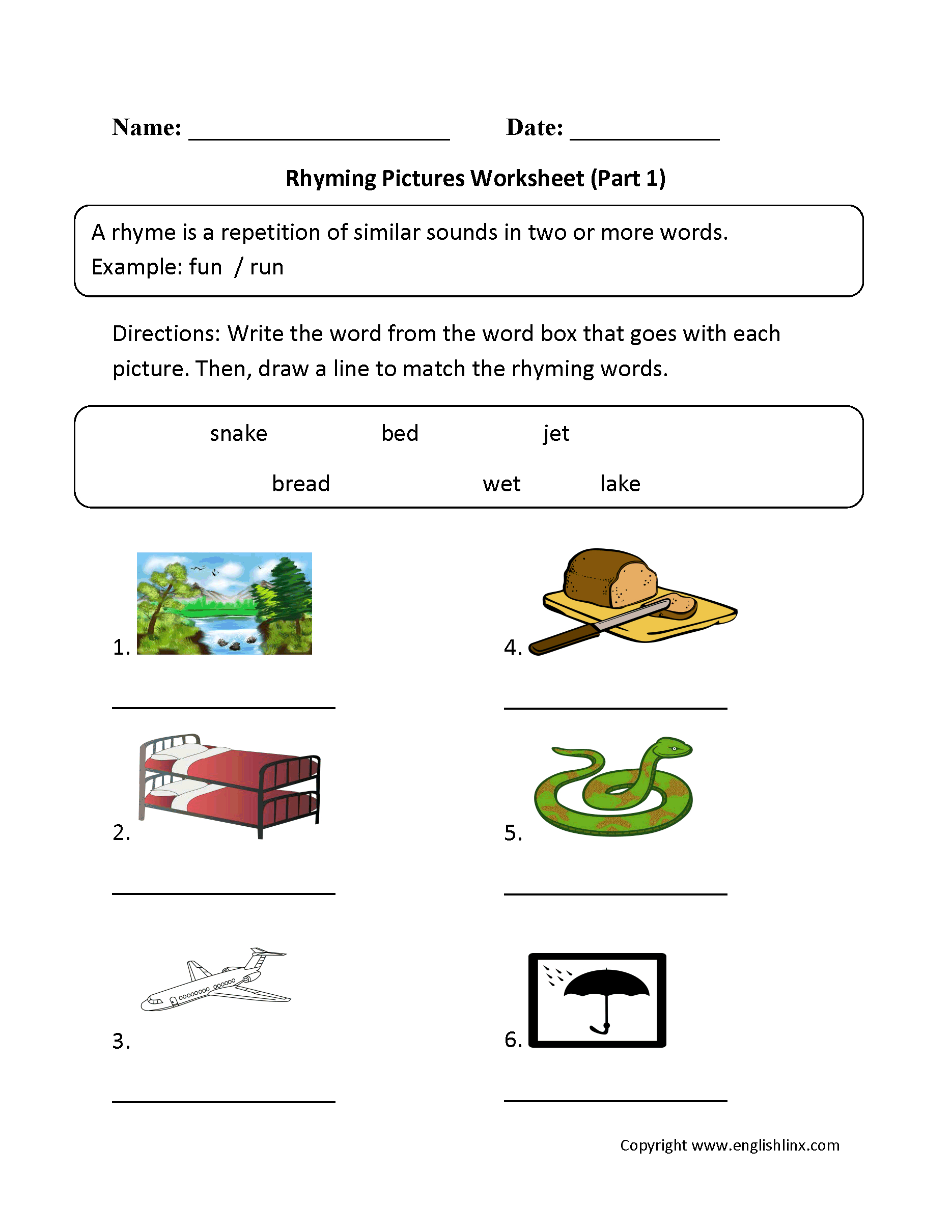 Free Printable Rhyming Words Worksheets