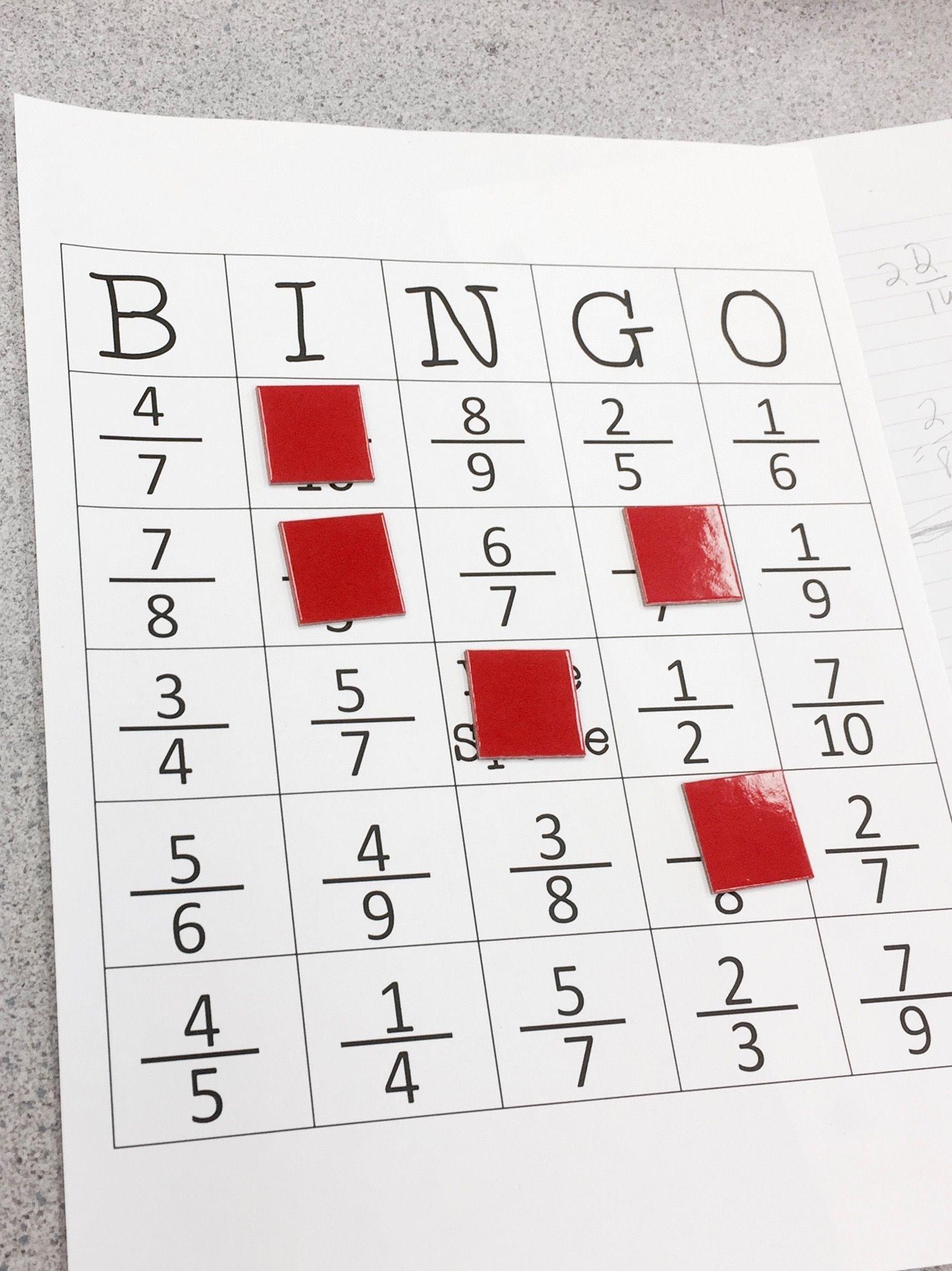 Fraction Bingo Cards Printable Free