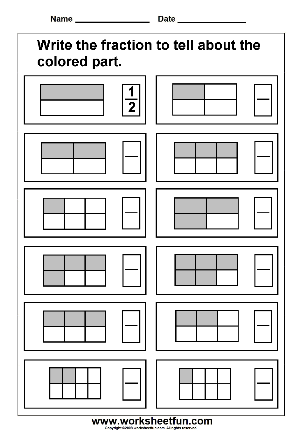 Free Printable First Grade Fraction Worksheets