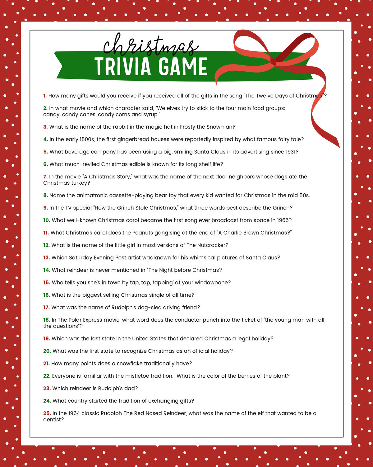 Free Printable Christmas Riddle Games
