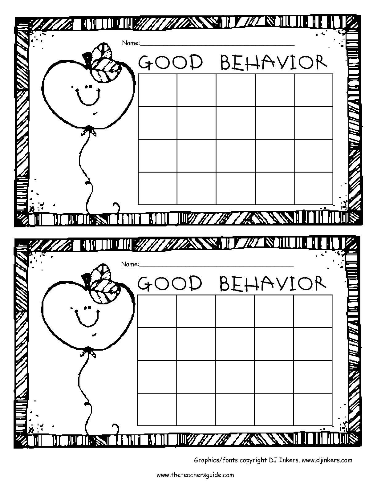 Behavior Chart Template High School Free Printable