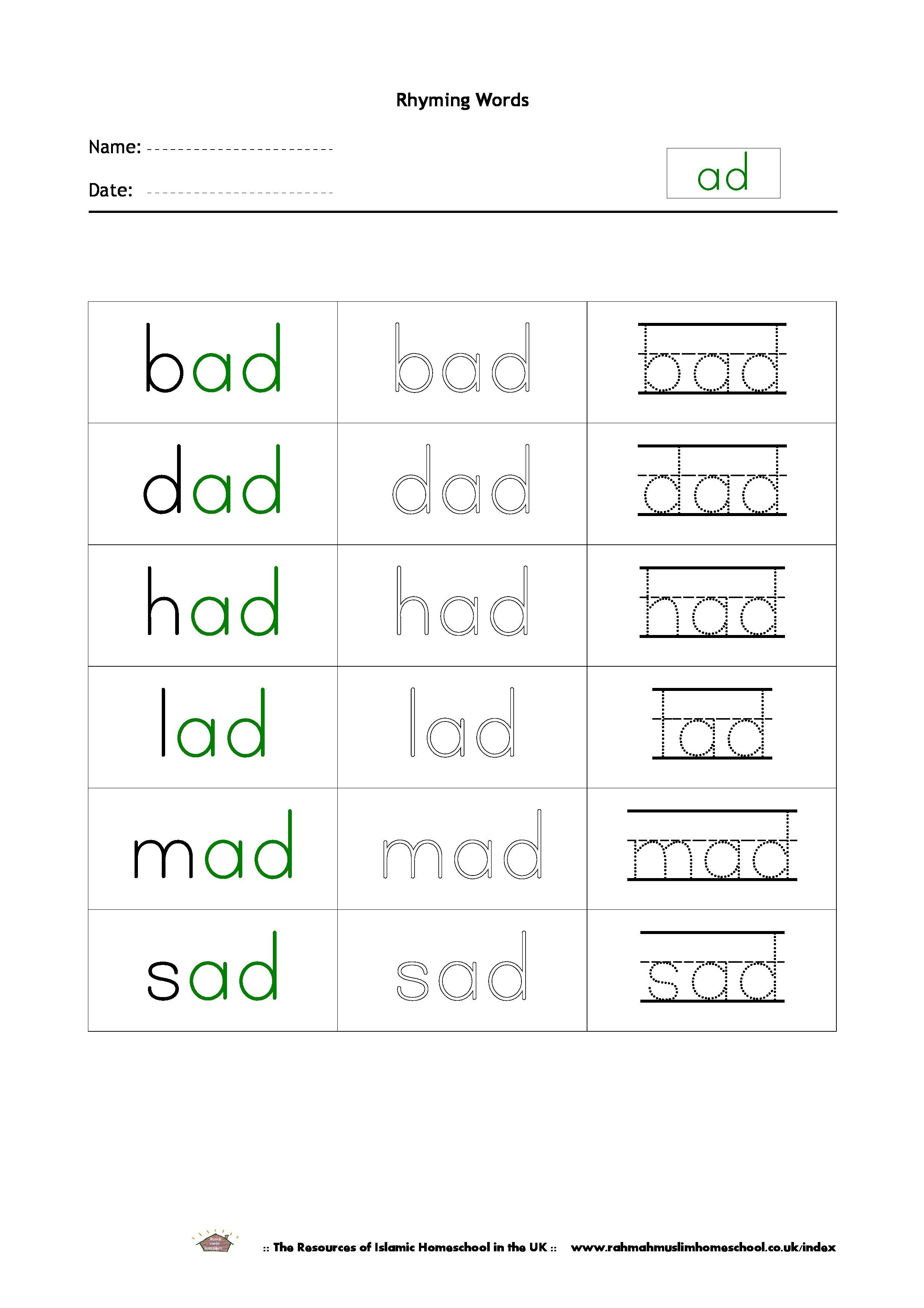 Free Printable Rhyming Words