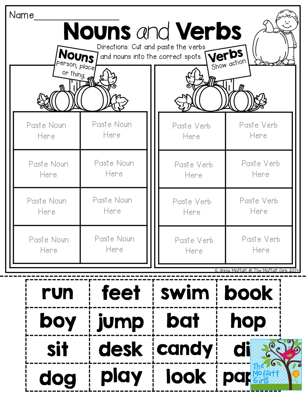 Free Printable Verbs And Nouns Worksheet For Kindergarten