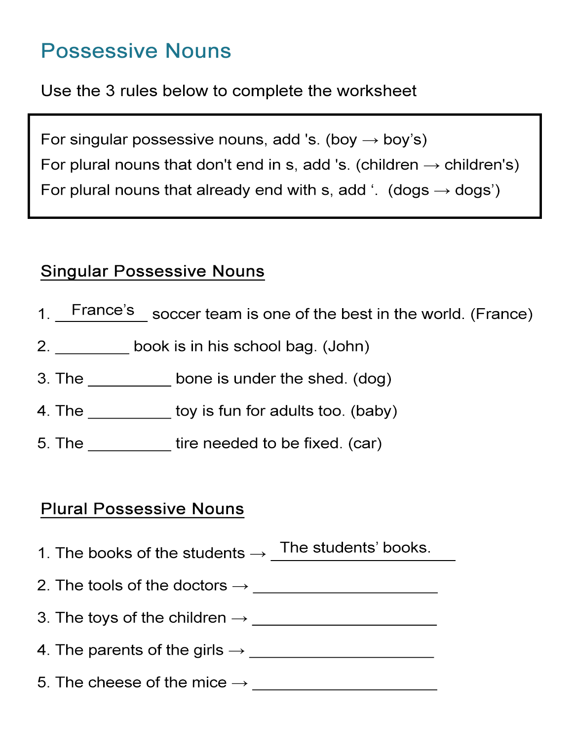 Free Printable Possessive Nouns Worksheets