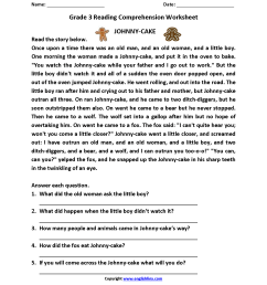 Free Reading Comprehension Worksheets Third Grade   www.robertdee.org [ 2200 x 1700 Pixel ]