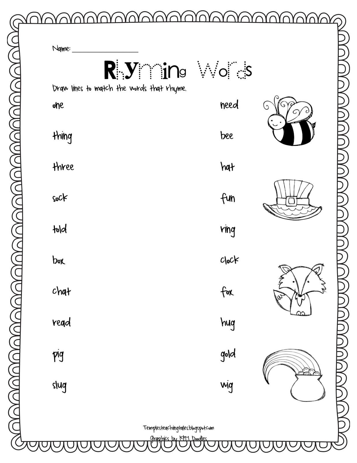 Free Printable Rhyming Words Worksheets