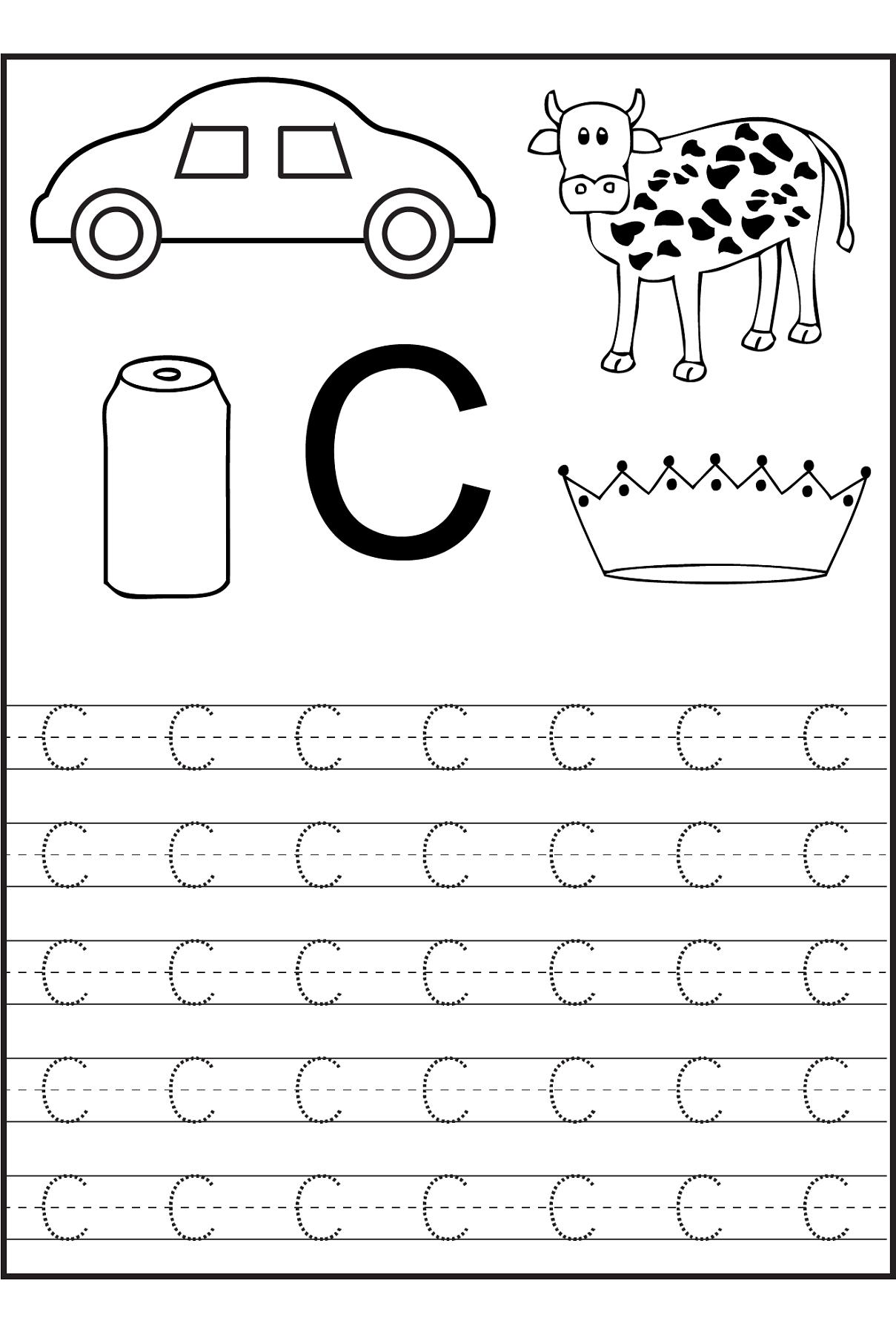 Uppercase Letter C Tracing Worksheet