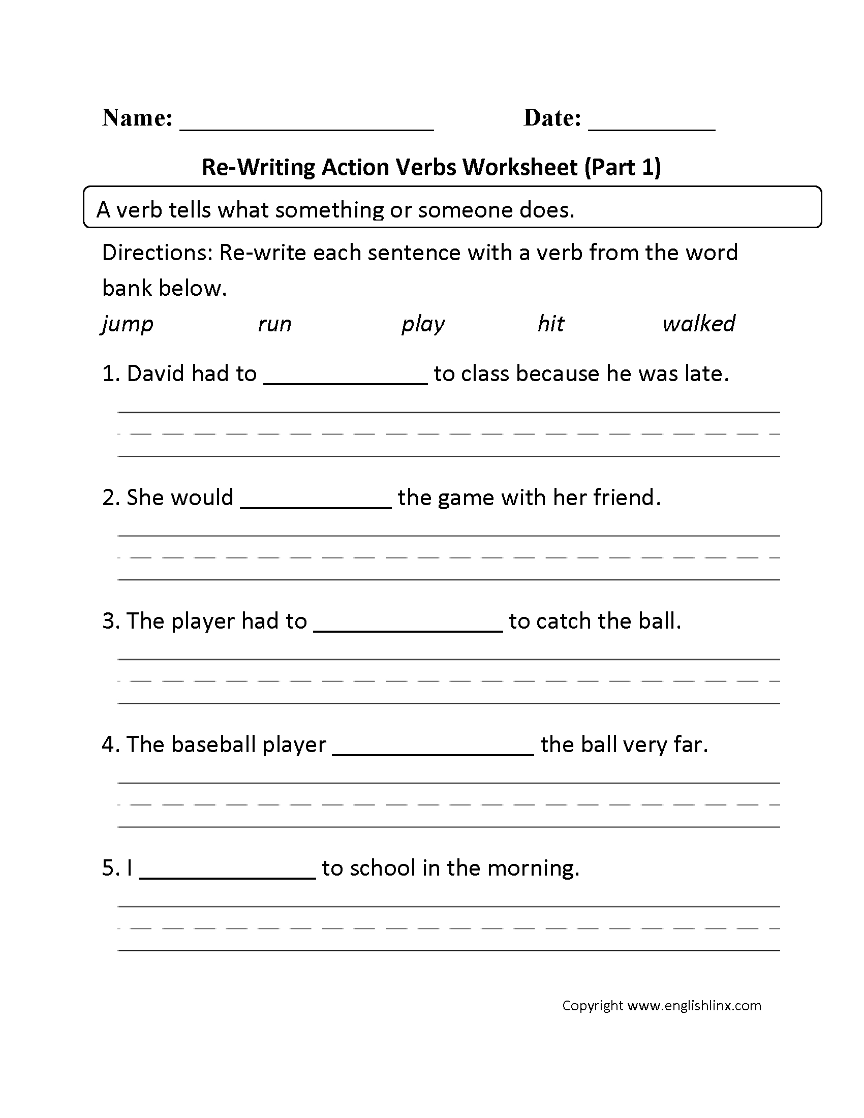 Free Printable Verbs And Nouns Worksheet For Kindergarten
