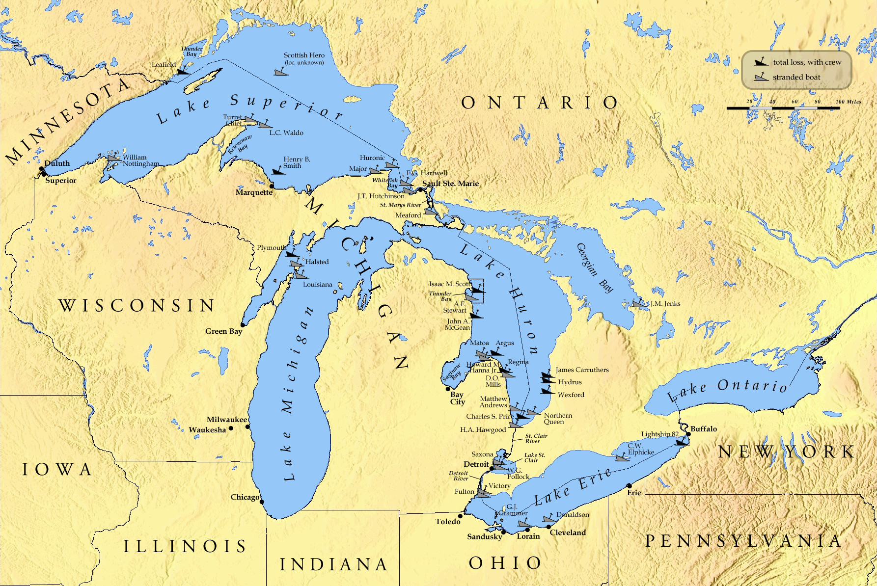 10 Best Of Printable Map Of The 5 Great Lakes