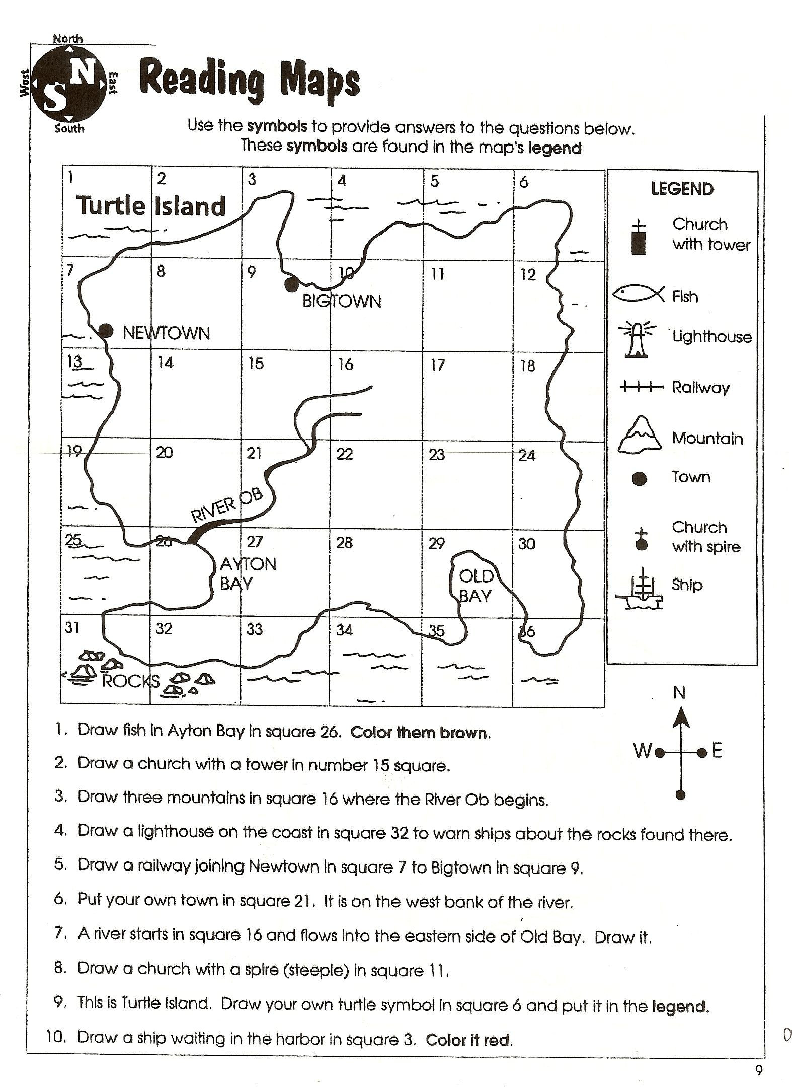 10 Inspirational Printable Map Skills Worksheets For 4th Grade