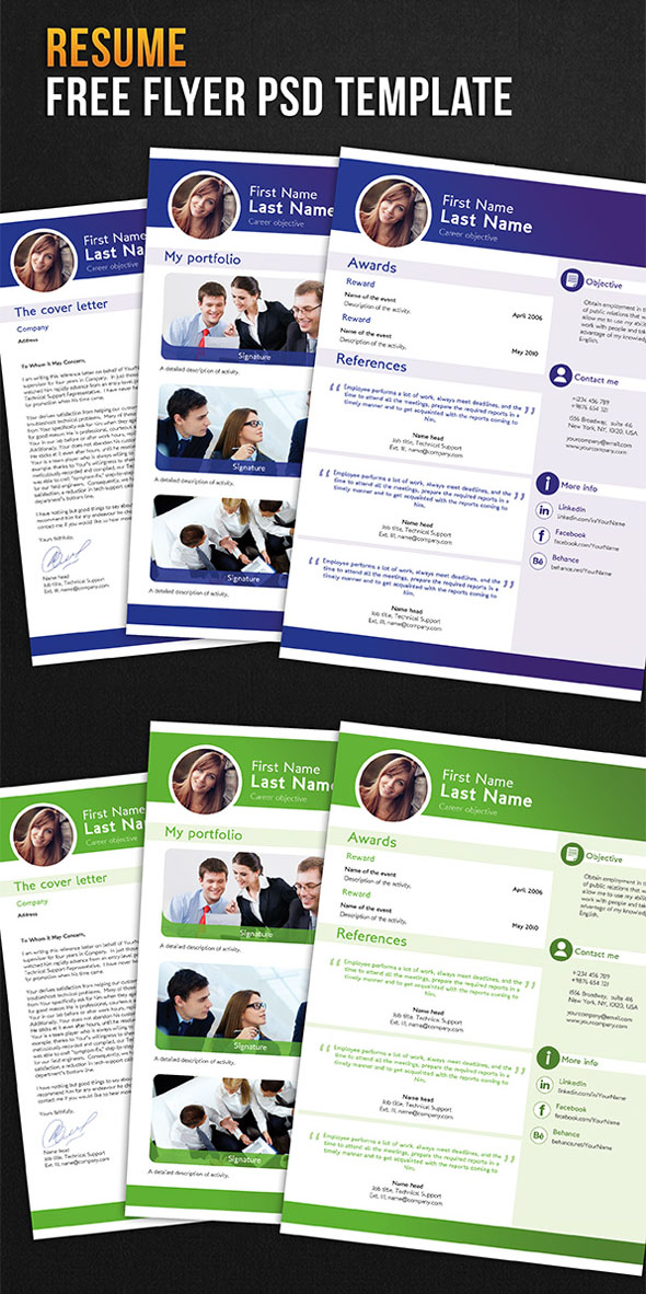 34 Free PSD CVResumes to find a good job  Free PSD Templates