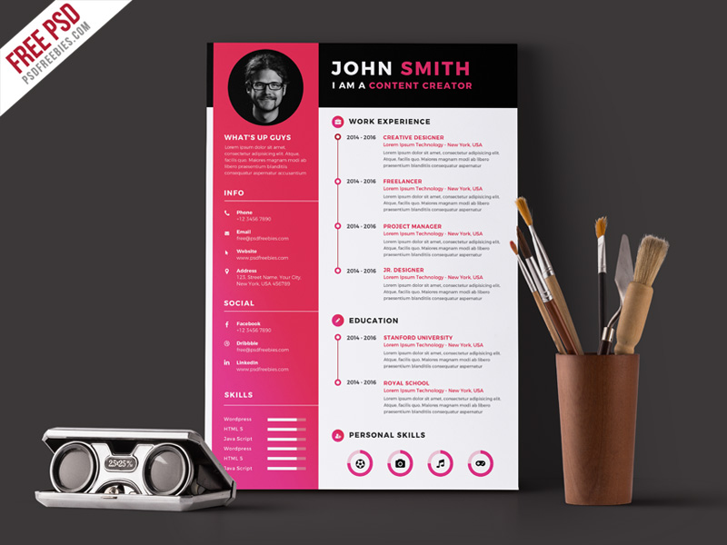 free modern resume and cv template in adobe photoshop