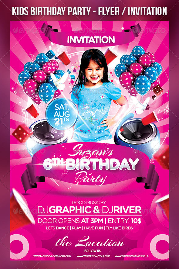 children s birthday party invitation templates