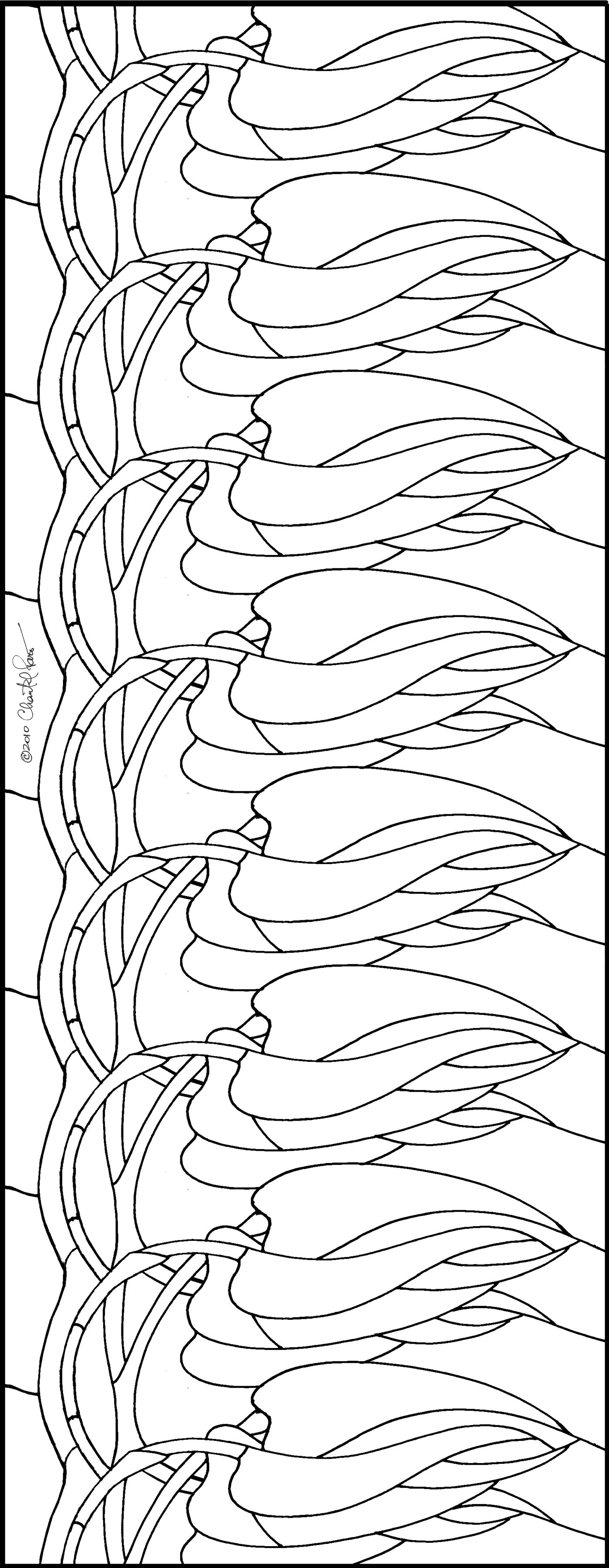 Art Nouveau Hanging Vine Stained Glass Pattern