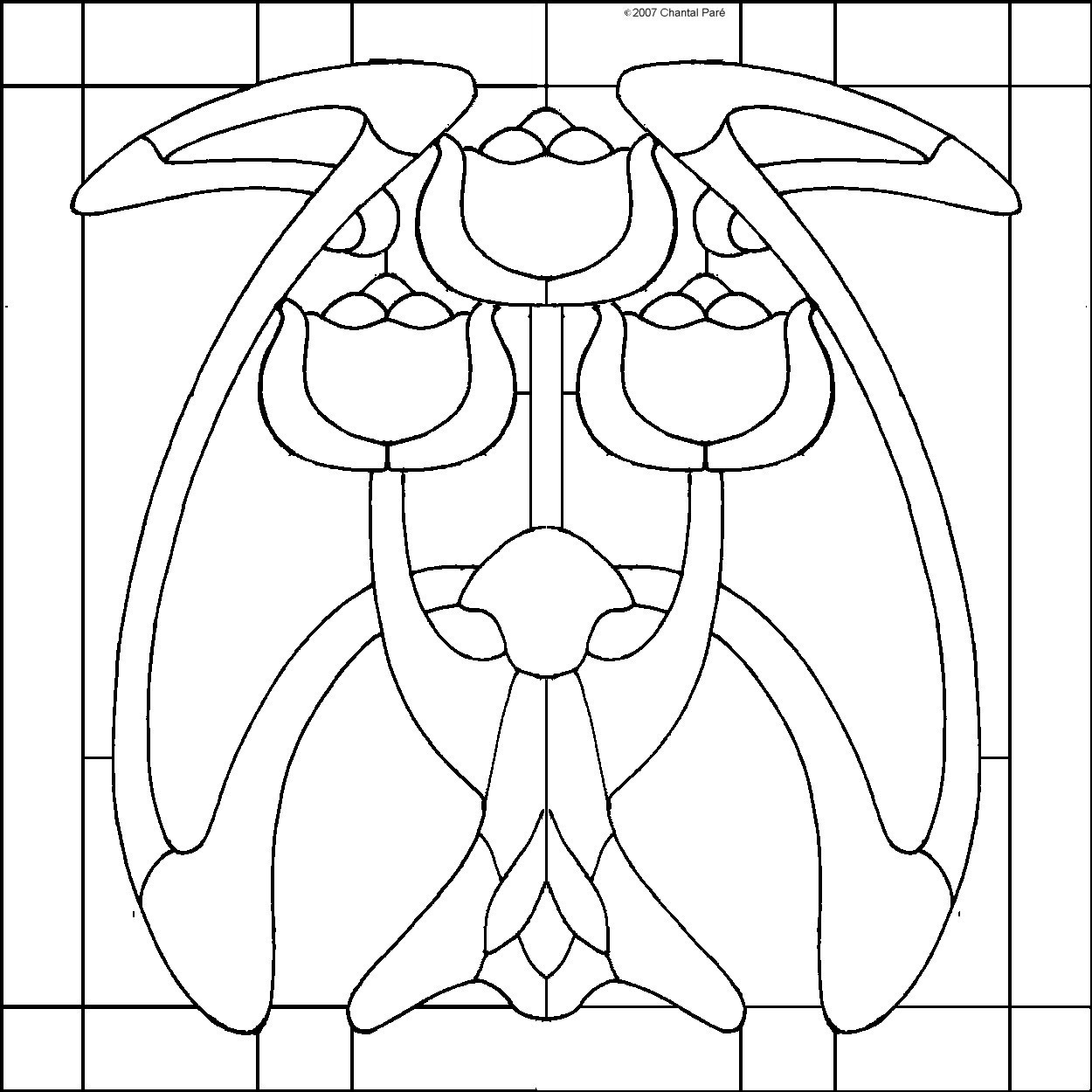 Art Nouveau Tulips Stained Glass Pattern
