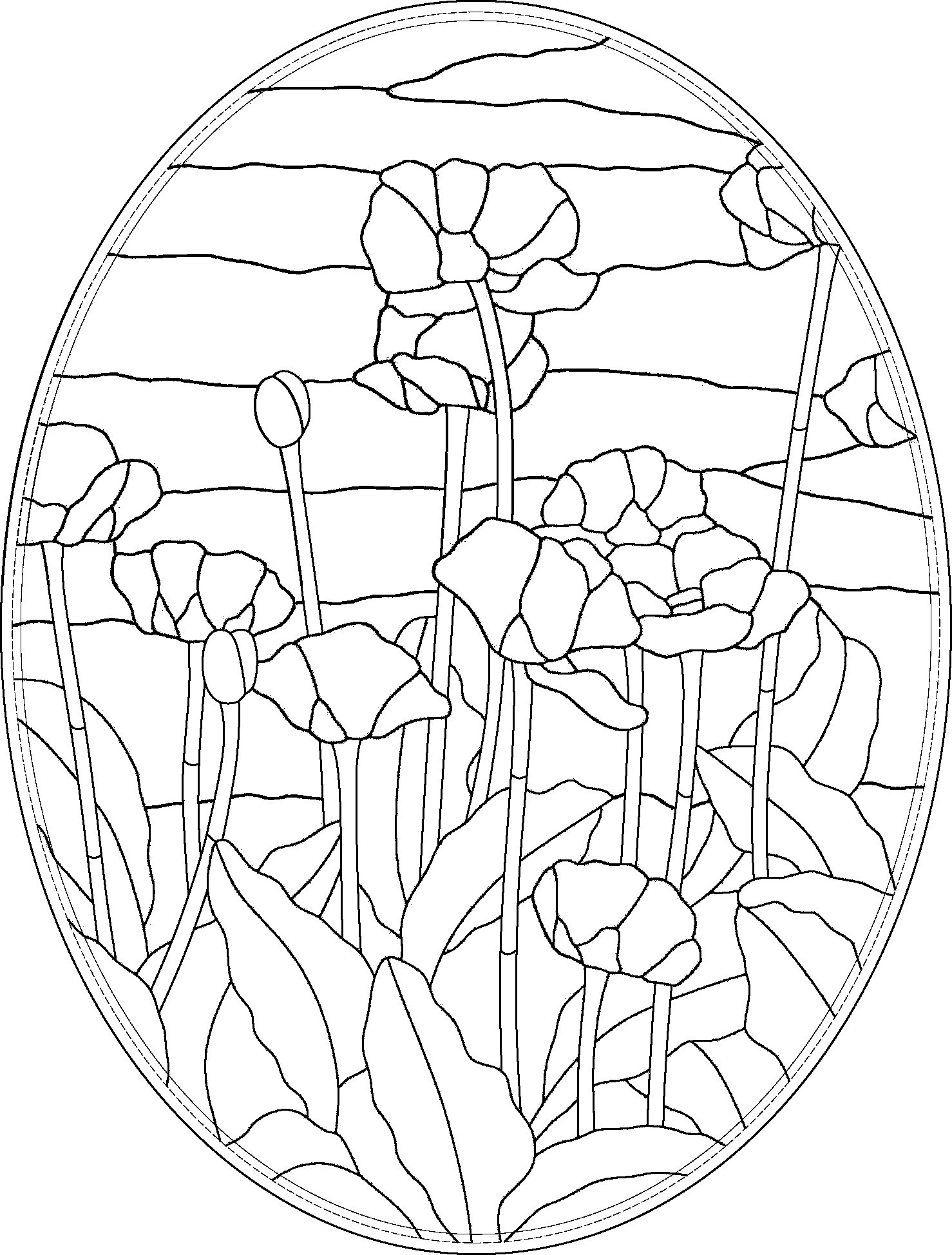 Oval Oriental Poppies Stained Glass Pattern