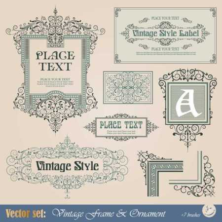 Frame-border-ornament-and-element-in-vintage-style-vector-set-5-3-450x450