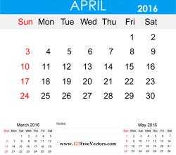 April 2016 Calendar Printable