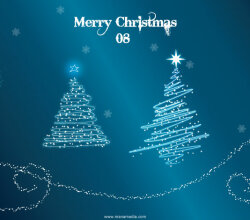 Vector Sparkle Christmas Tree with Snow Wallpaper