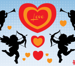 Vector Valentine Cupid Angels Silhouettes Images