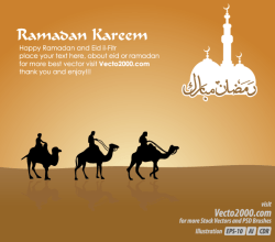 Islamic Greeting Card for Ramadan Kareem Vector Free