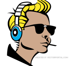 Boy Listening Music Clip Art Image