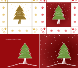 Vector Merry Christmas Greeting Card Design with Tree and Twinkling Stars