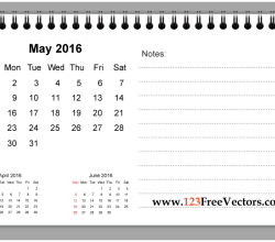 May 2016 Printable Calendar with Notes