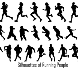 Running People Silhouettes Vectors Free