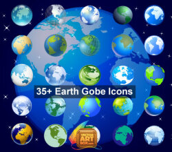 Earth Globe Icons Free Vector Set