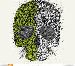 Skull Ornament Free Vector Tshirt Design Illustration