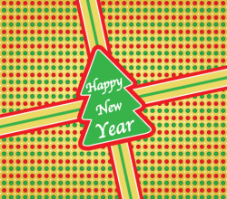 Christmas Tree Present Sticker with Happy New Year Lettering Vector