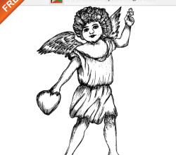 Cute Cupid Angel Free Vector Illustration